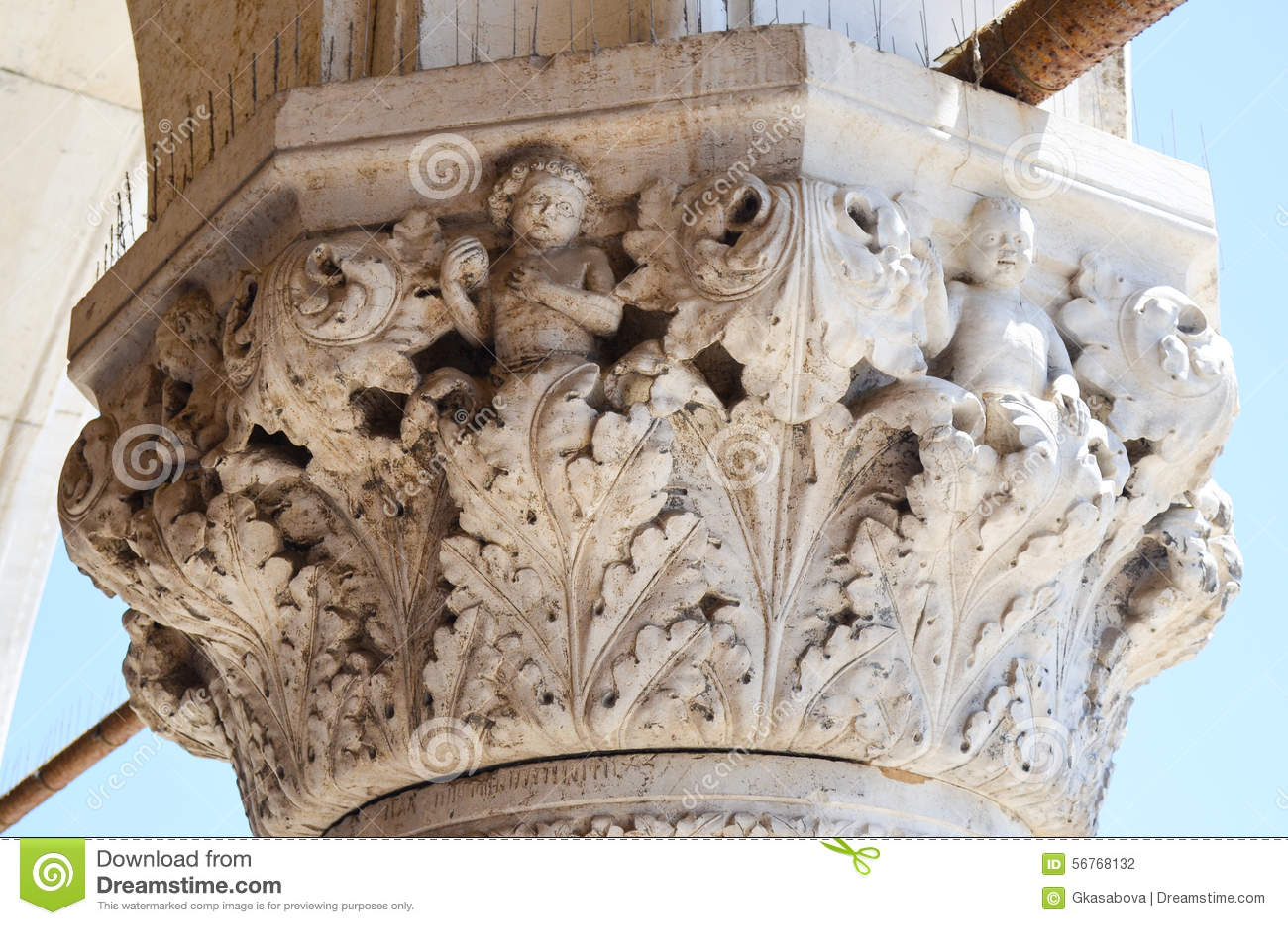 Colonna di Palazzo Ducale a Venezia, Italia
