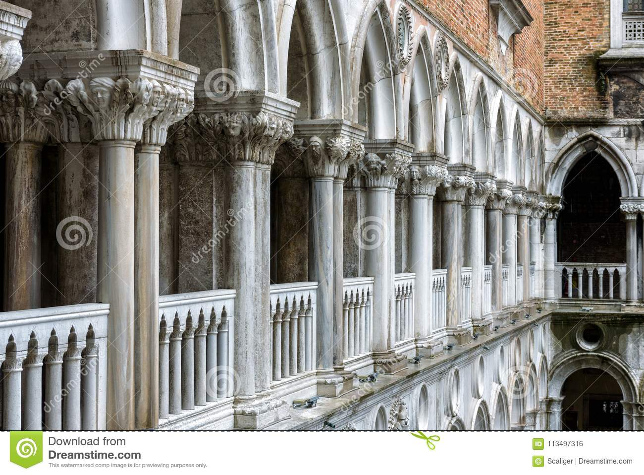 Colonnade Of The Doge S Palace Courtyard Venice Italy Stock