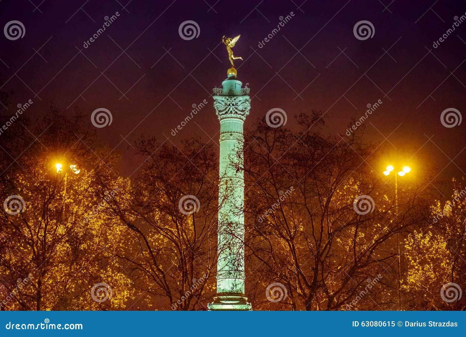 Download Colonne de juillet, Paris image stock. Image du histoire - 63080615