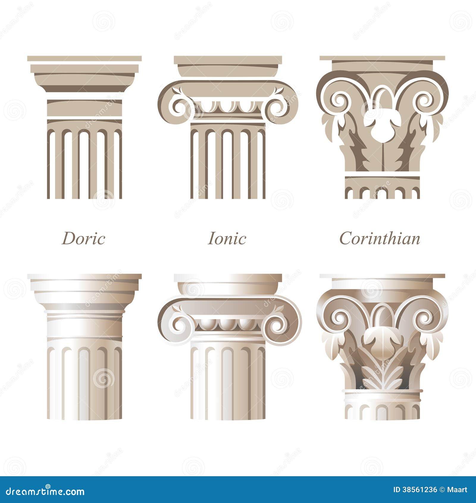 colonnes dans diff rents styles illustration de vecteur illustration du antiquit ionique. Black Bedroom Furniture Sets. Home Design Ideas