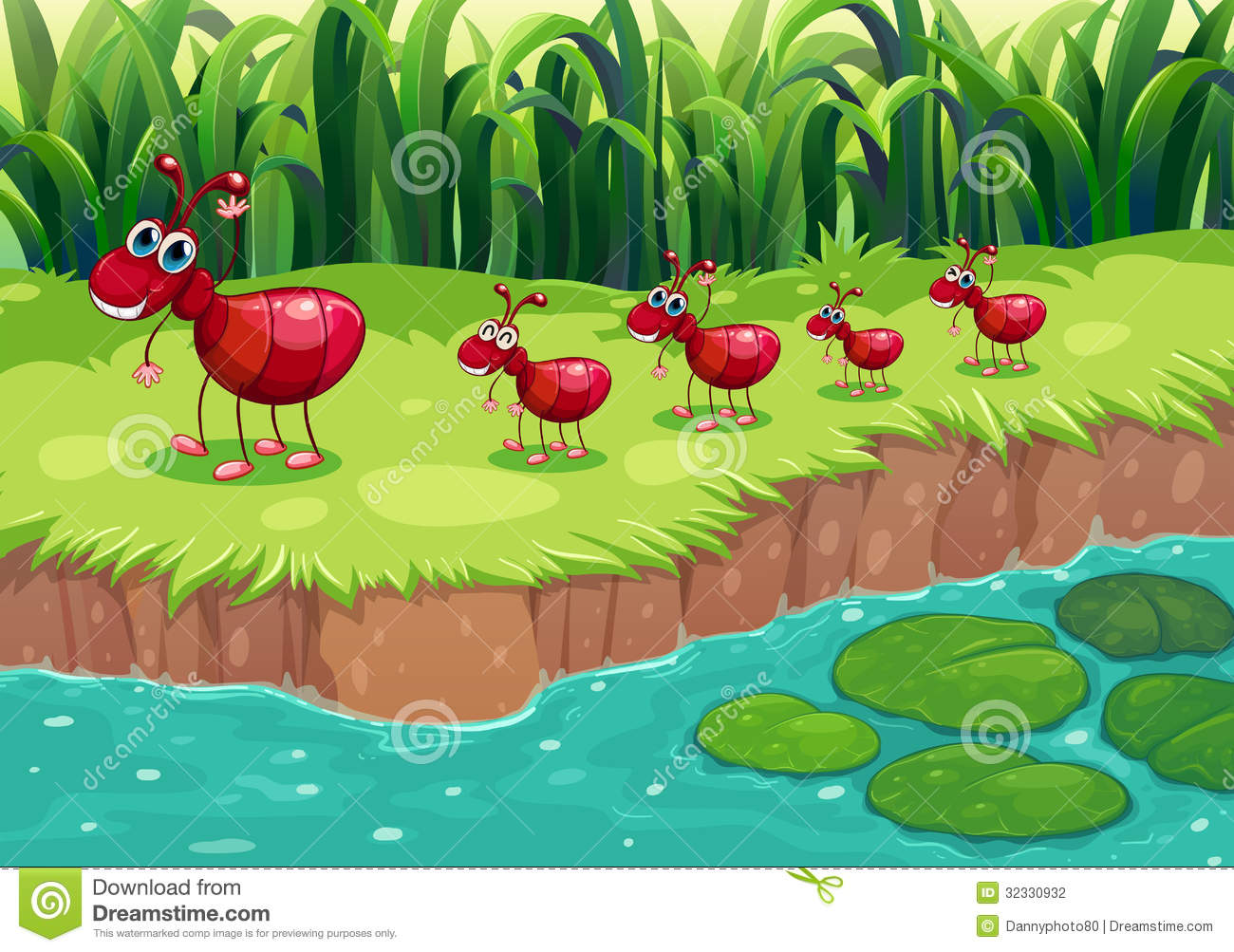 Download A Colony Of Red Ants At The Riverbank Stock Vector - Illustration of follow, lilypad: 32330932