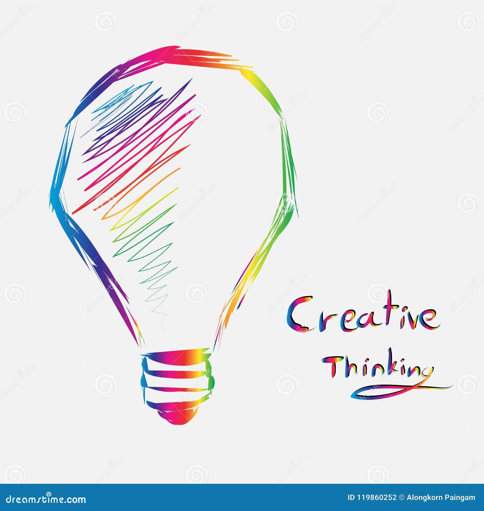 Coloré du signe d ampoule de la pensée créative ligne vecteur d art