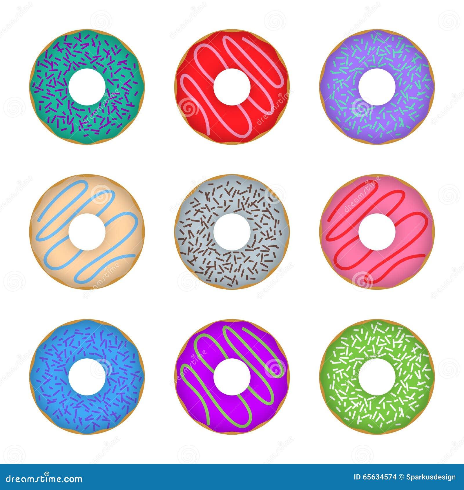 Coloré réglé d icône de beignet