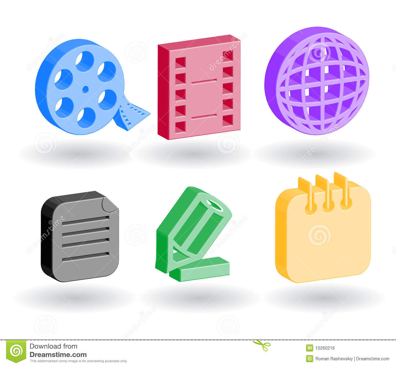 Color 3d Web Icons Royalty Free Stock Image Image 10260216