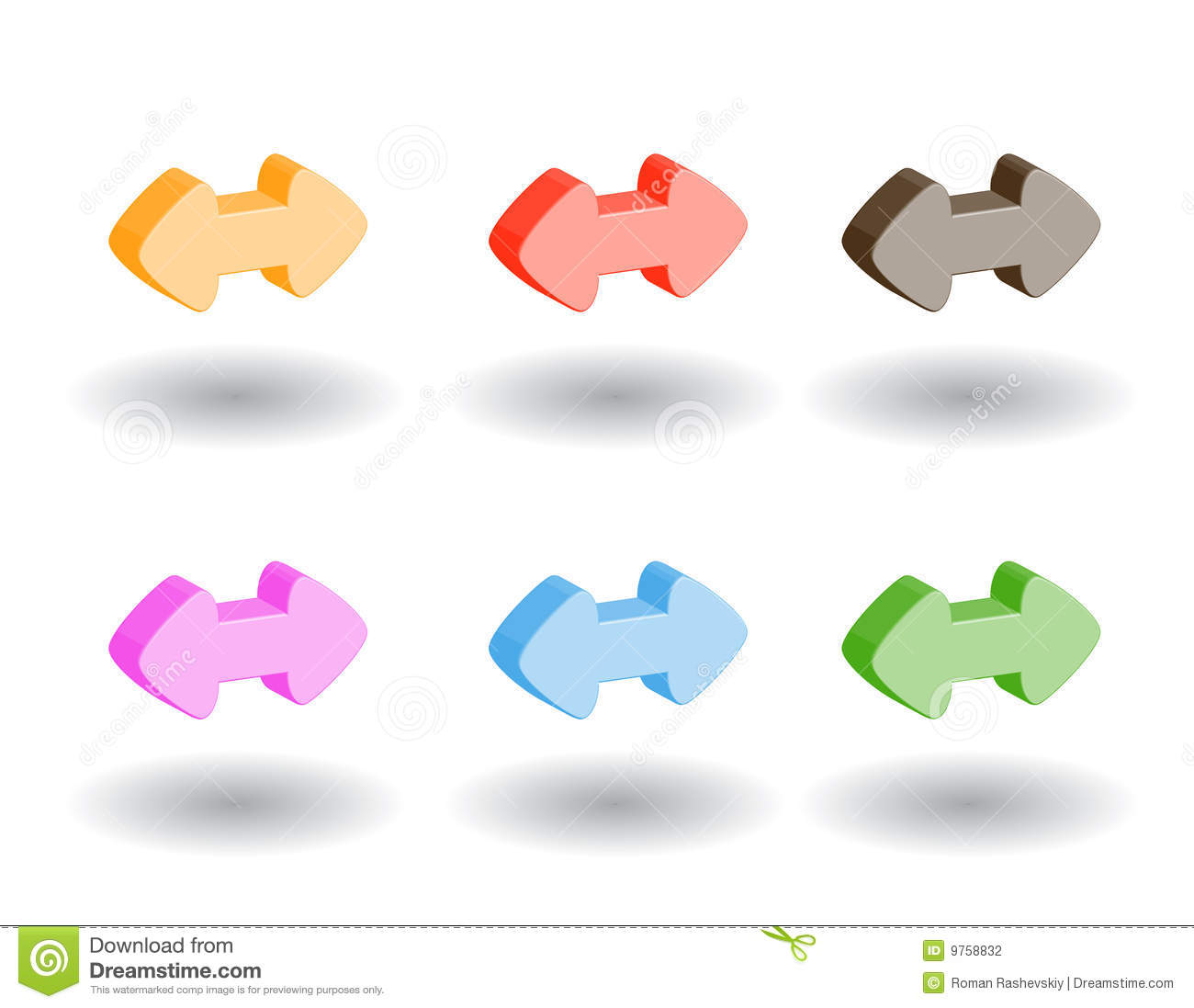 Color 3d Web Icons Vector Illustration Stock Photography