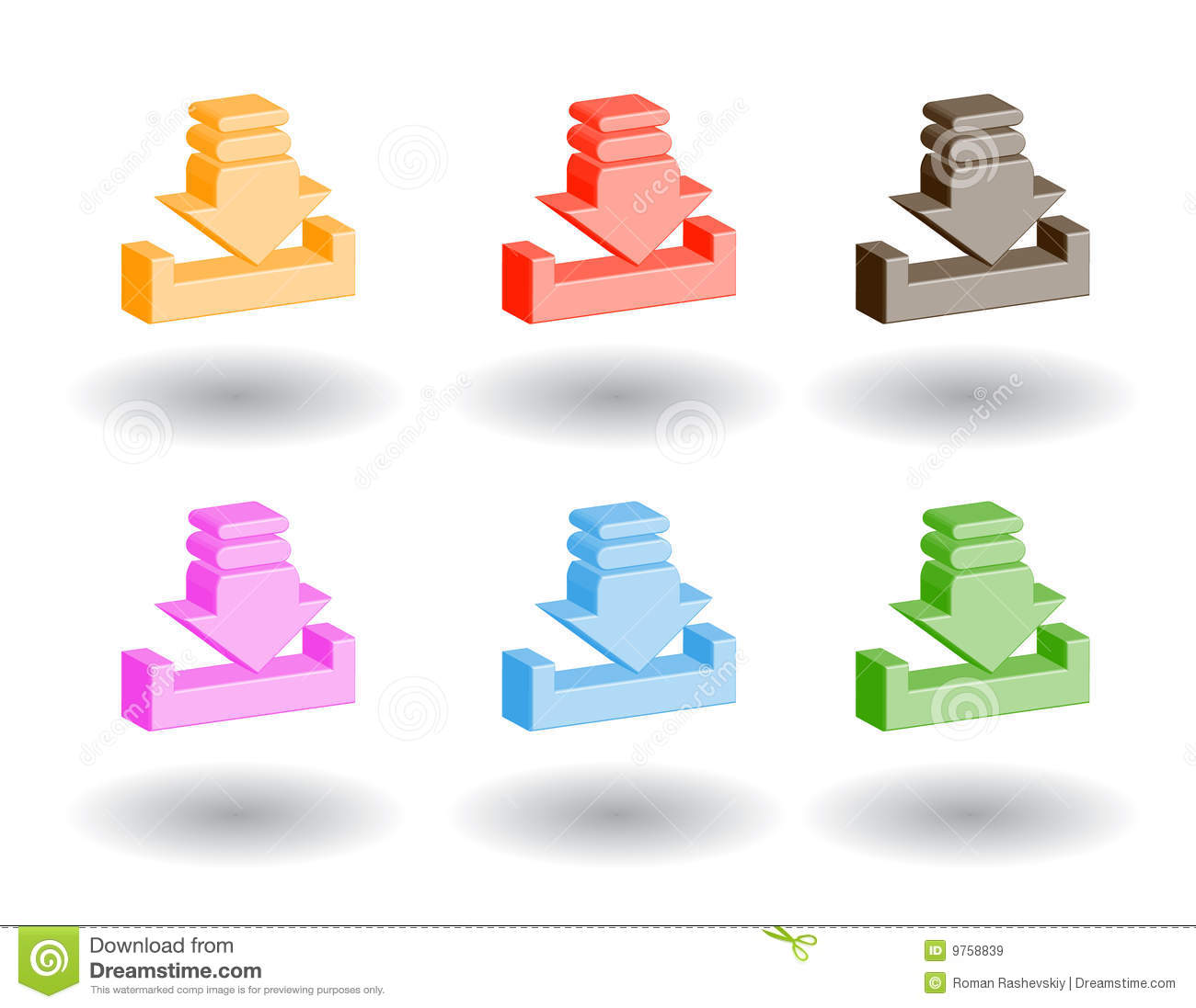 Color 3d Web Icons Vector Illustration Royalty Free Stock