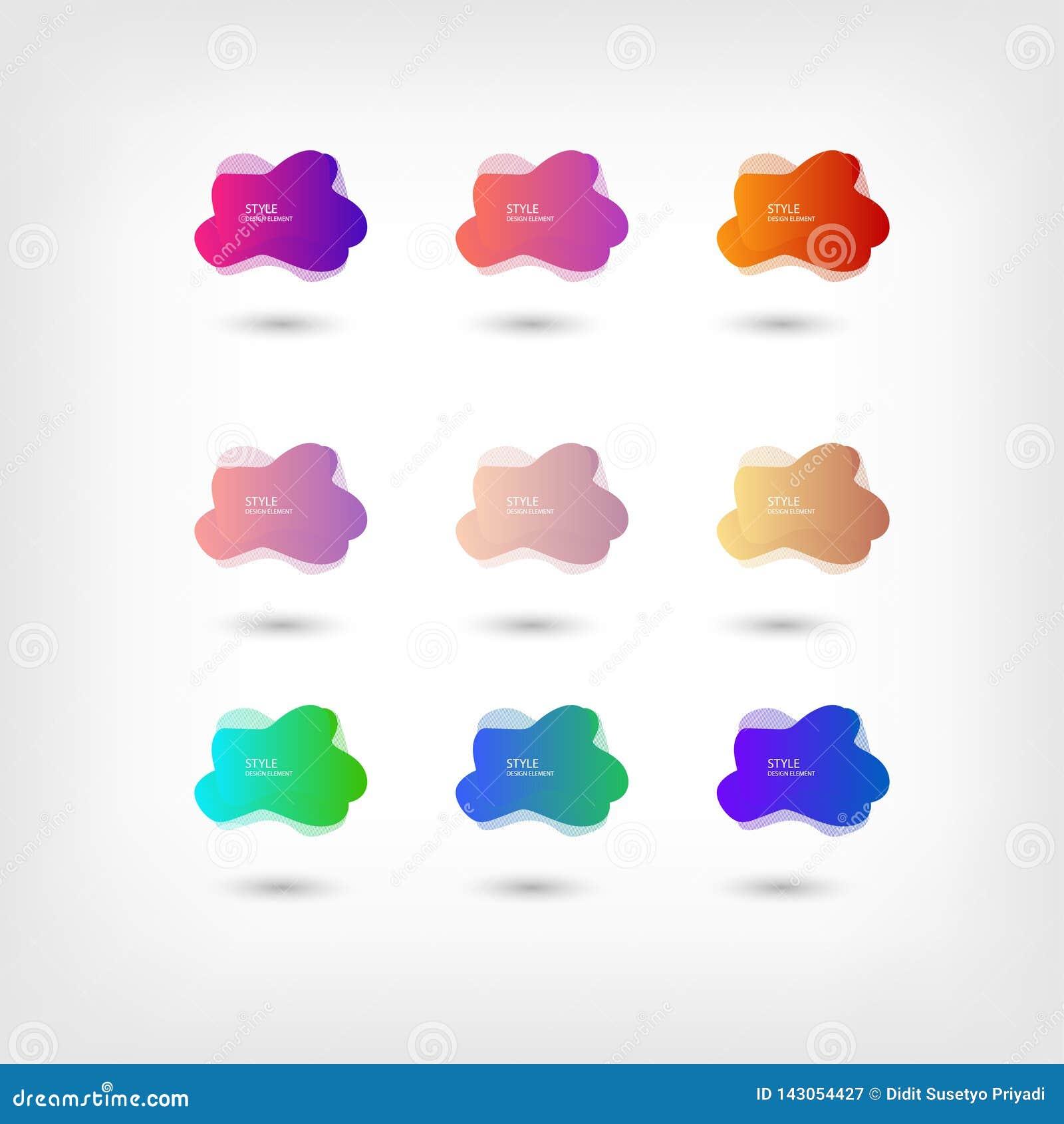 Color abstract liquid shape halftone patterns fluid color overlap gradient background. Vector creative neon color splash shapes
