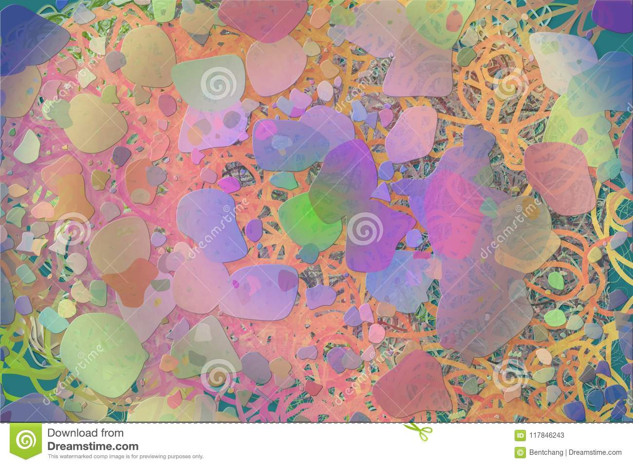 Color Abstract Pattern, Generative Blended Messy Shapes ...