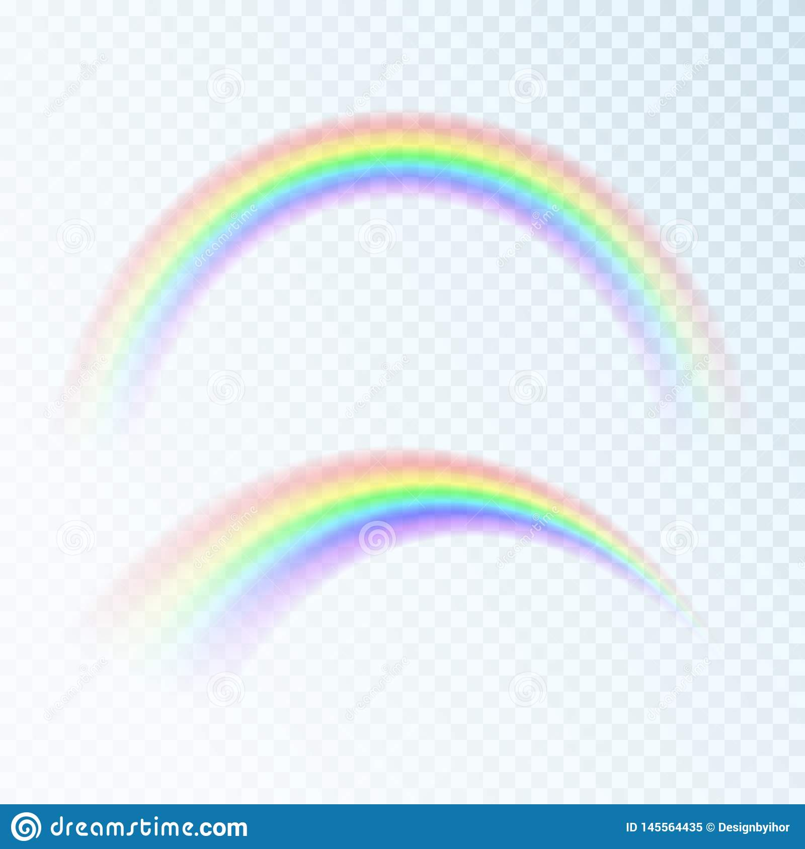 Color Abstract Rainbow. Spectrum of light, seven colors. Vector illustration isolated on transparent background