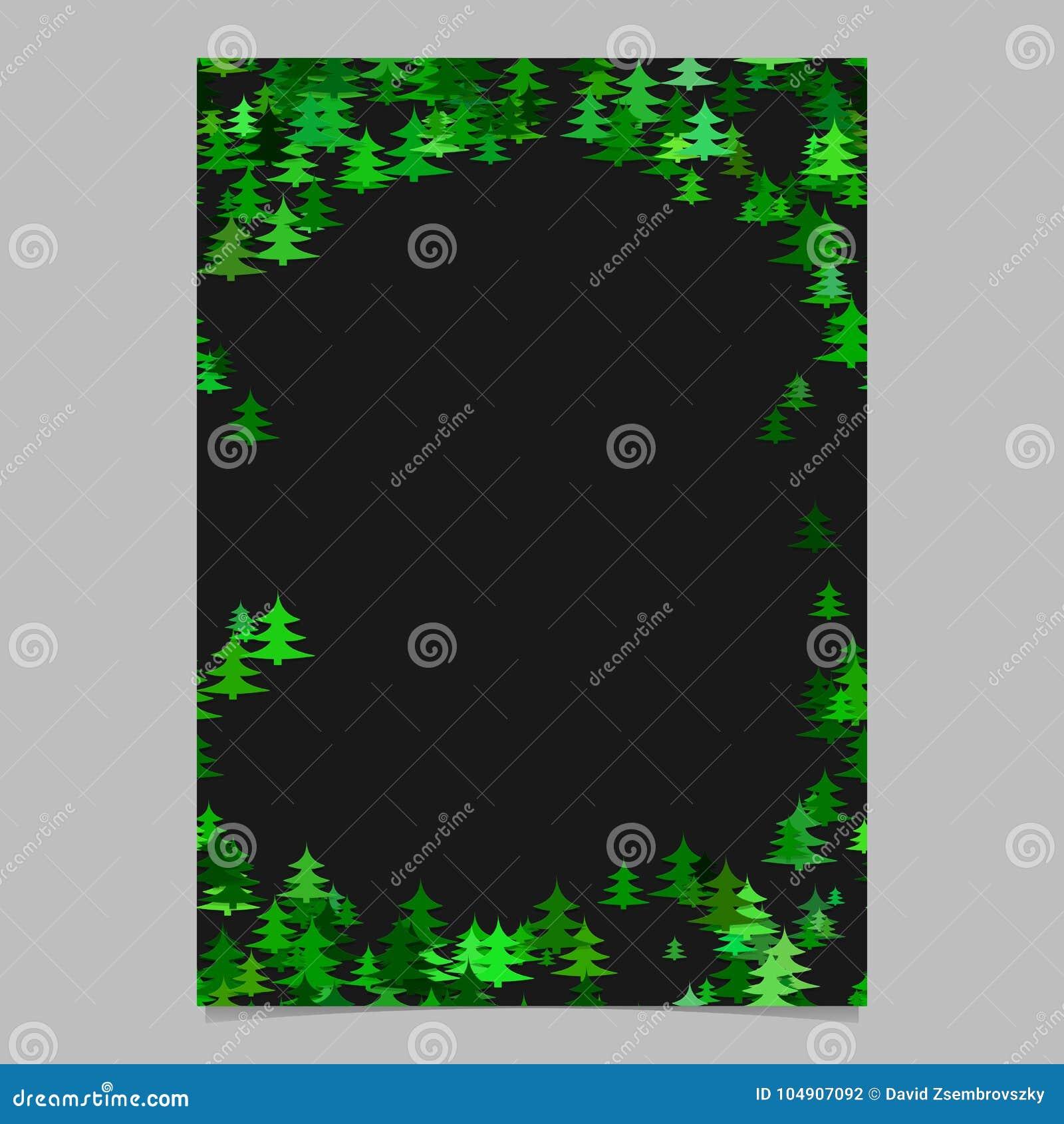 color random seasonal pine tree card template