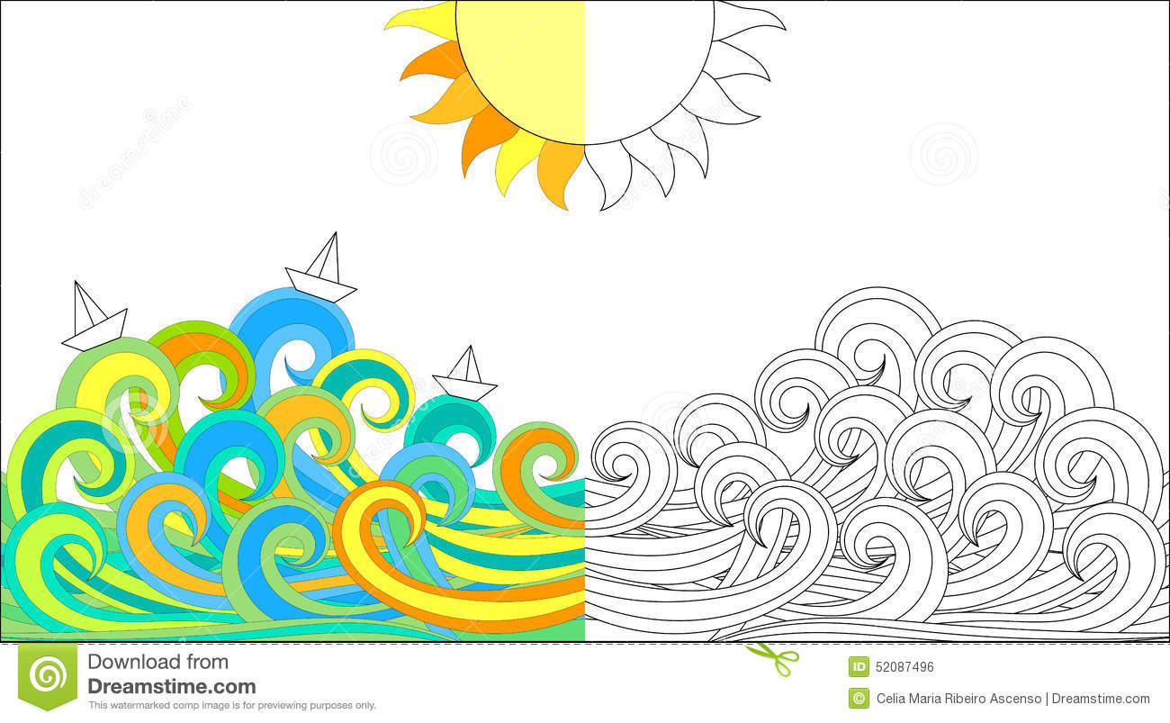 color activity page waves and boats royalty free stock image - Color Activity
