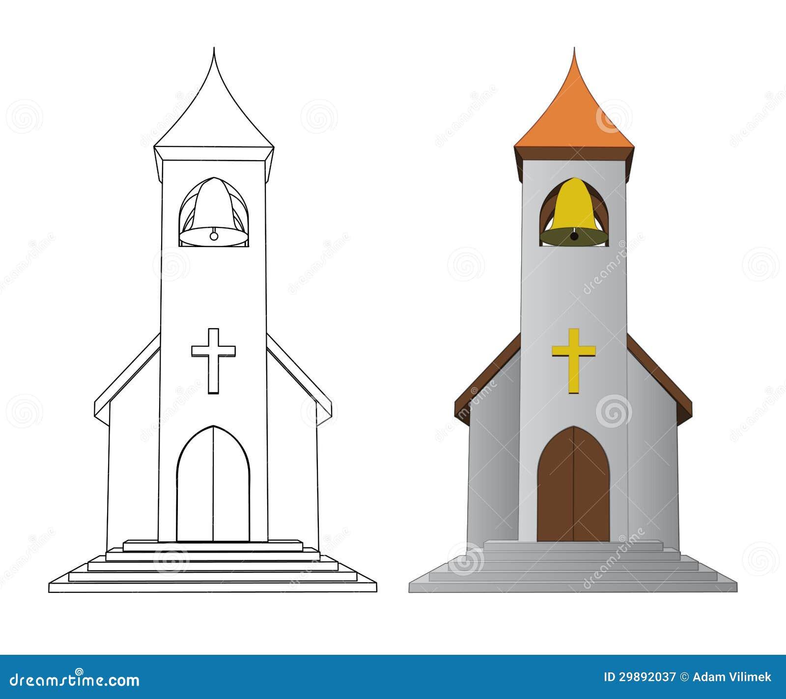 Color adentro e iglesia del dibujo lineal con vector de la - Eglise dessin ...