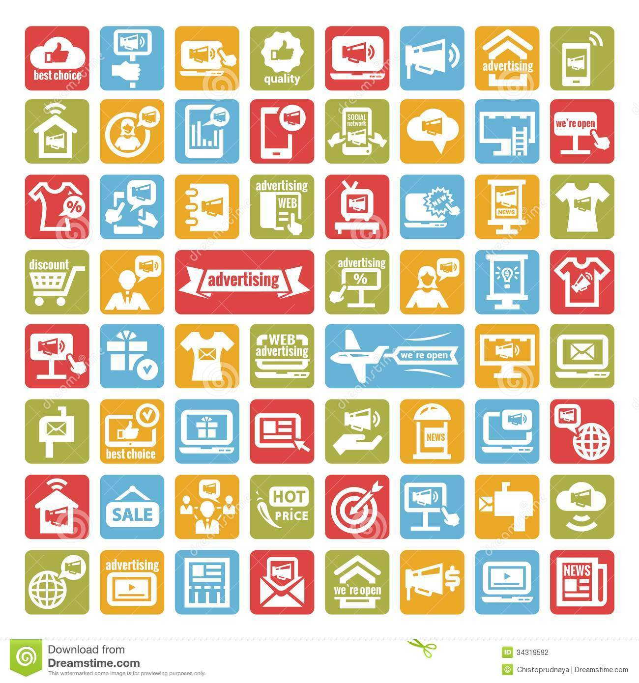 Color advertising icons set