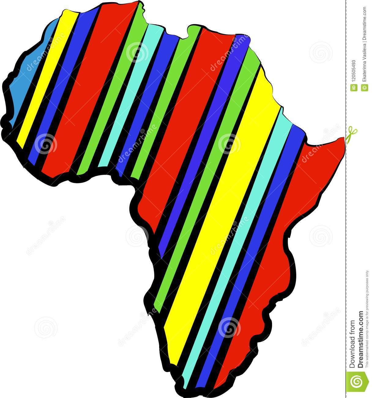 Color Africa Map Abstract Silhouette Of Africa Stock Illustration