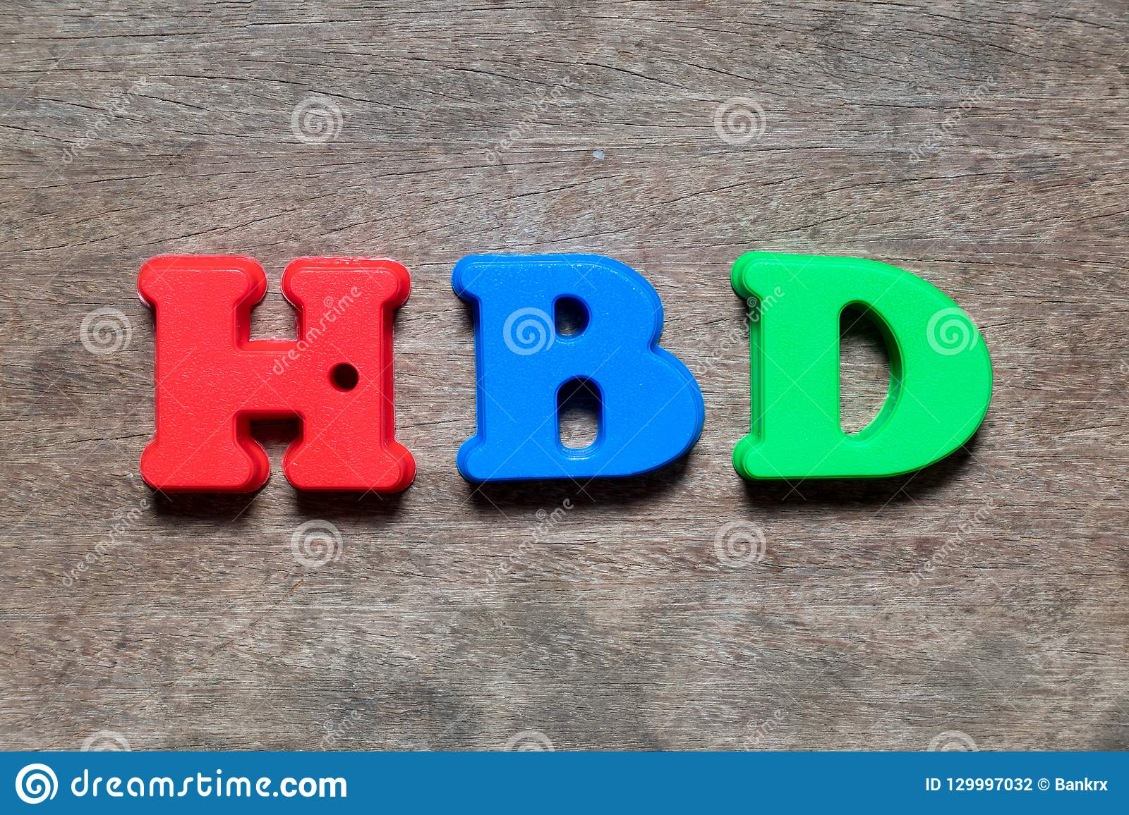 Color alphabet in word HBD Abbreviation of happy birthday