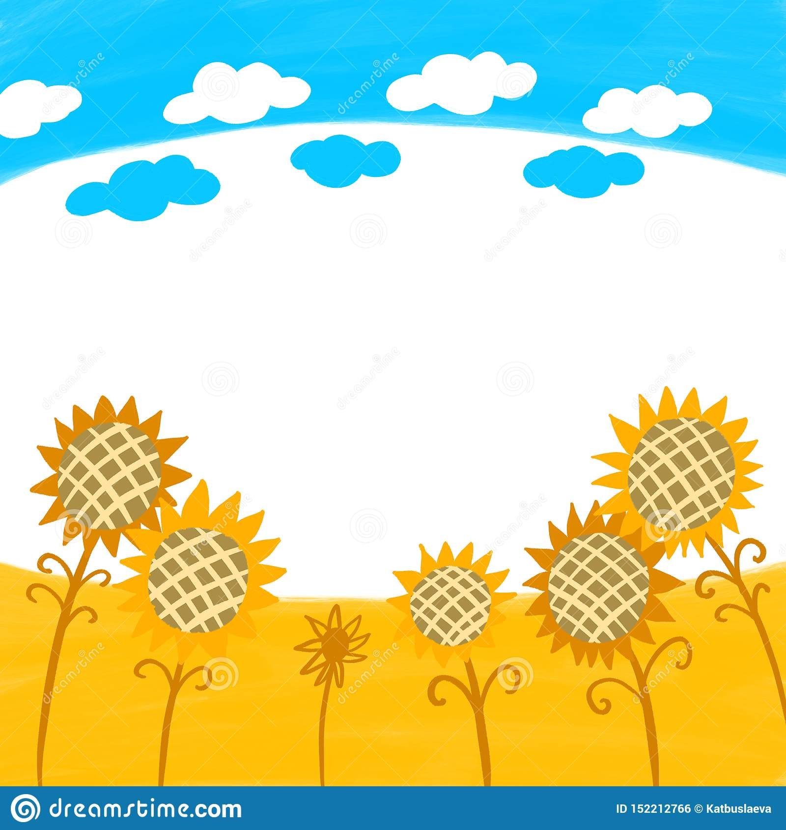 Color Background Drawing In Kids Style Blue Sky With Clouds And Yellow Field With Sunflowers Stock Illustration Illustration Of Wallpaper Harvest 152212766