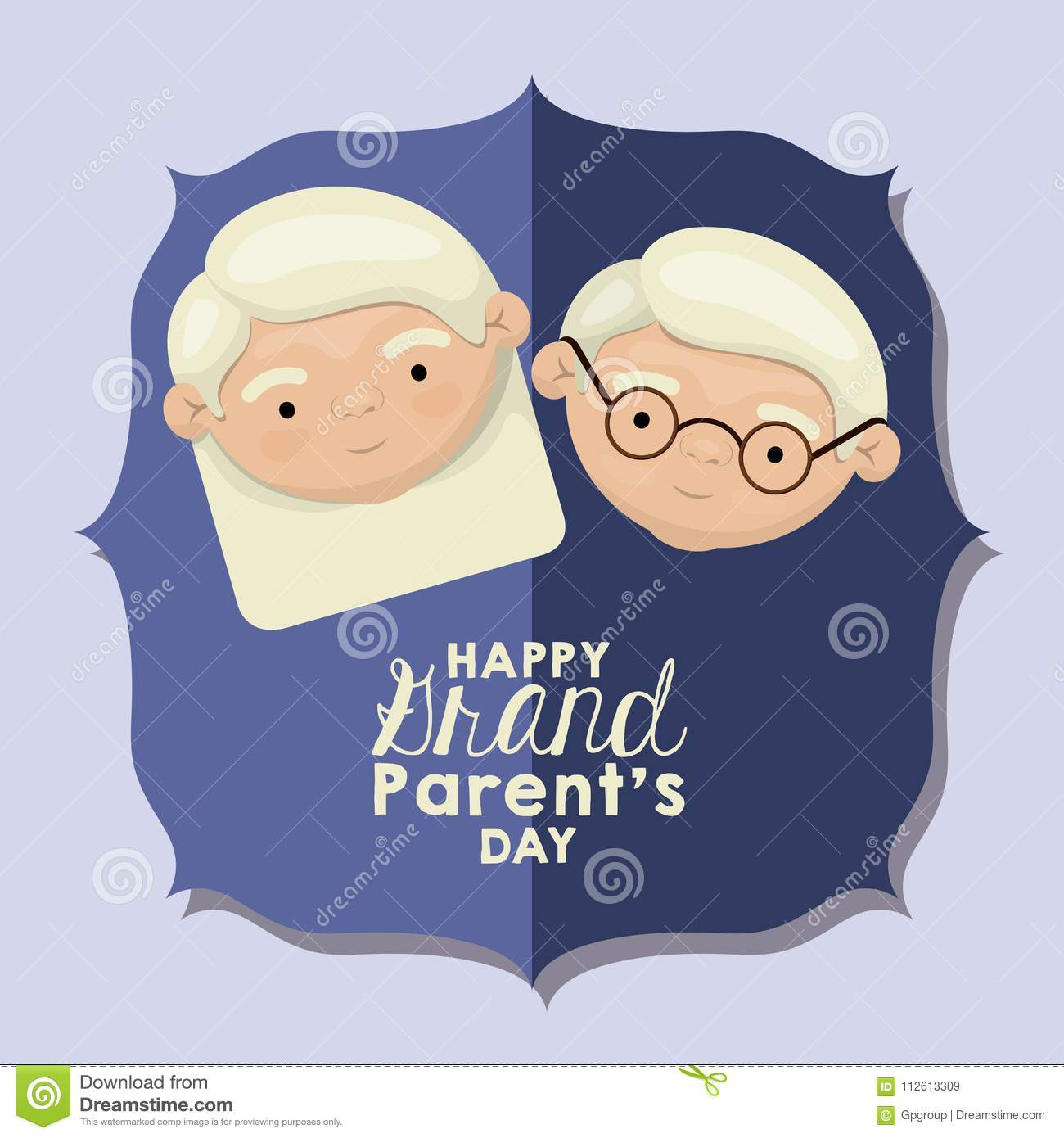 Color background of figure paper blue greeting card with caricature face happy grandparents day