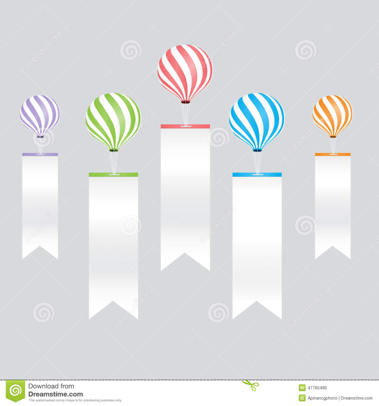 Color Full Balloons Ribbon Label For Info Graphic Template