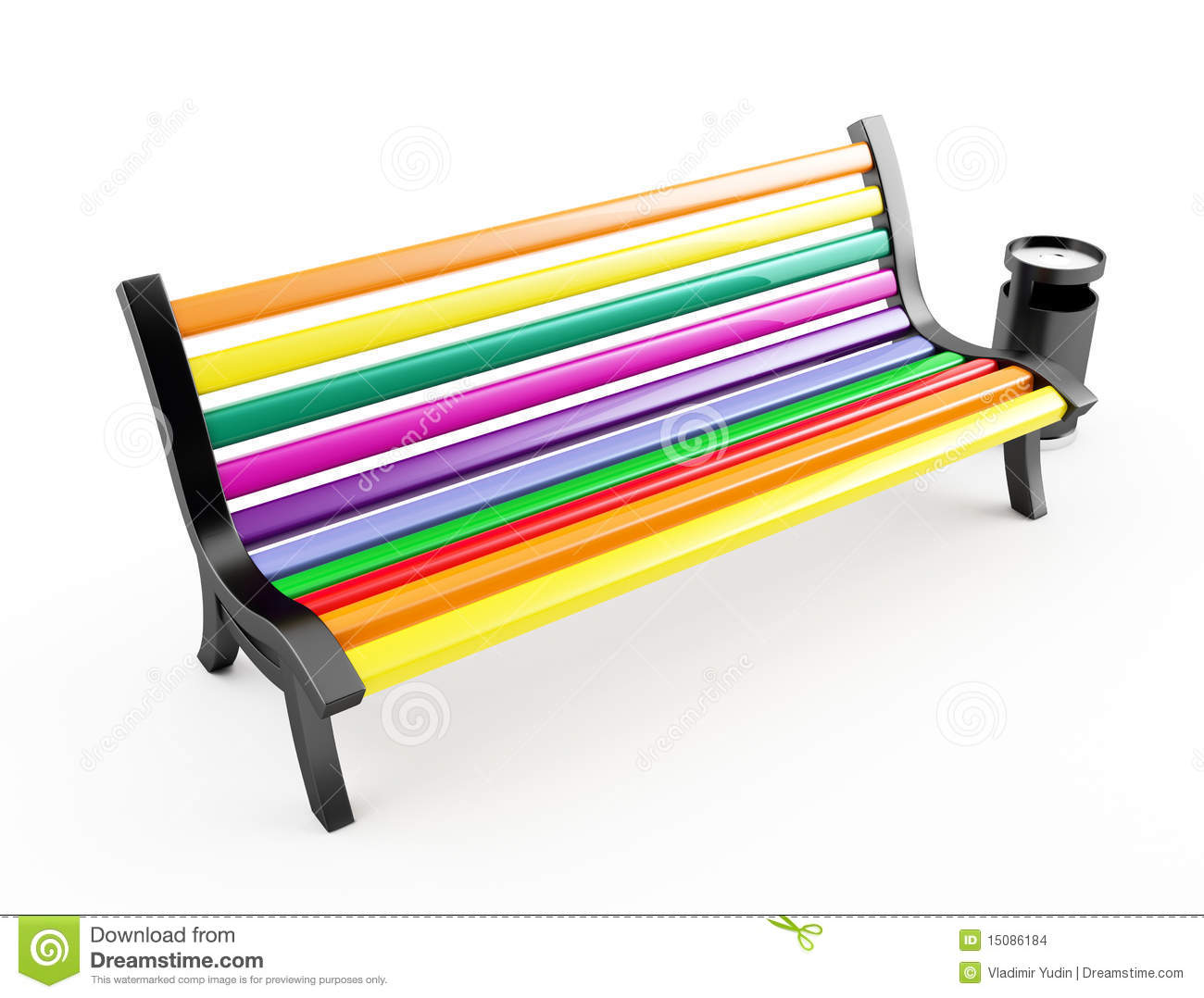 Color Bench On White Stock Images - Image: 15086184