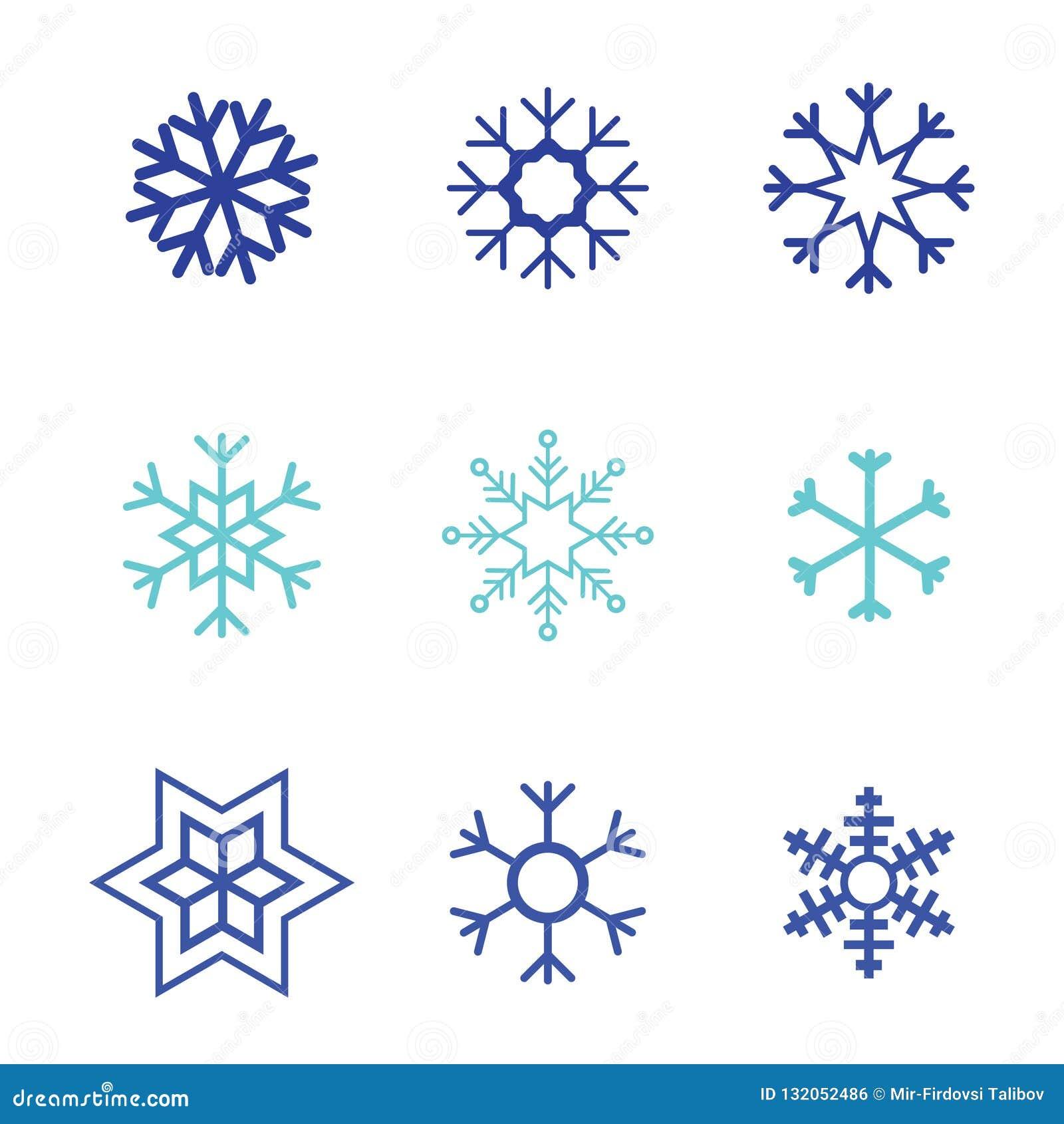 Color blanco del sistema del fondo del icono del vector del copo de nieve Elemento cristalino plano de la nieve azul de la Navida