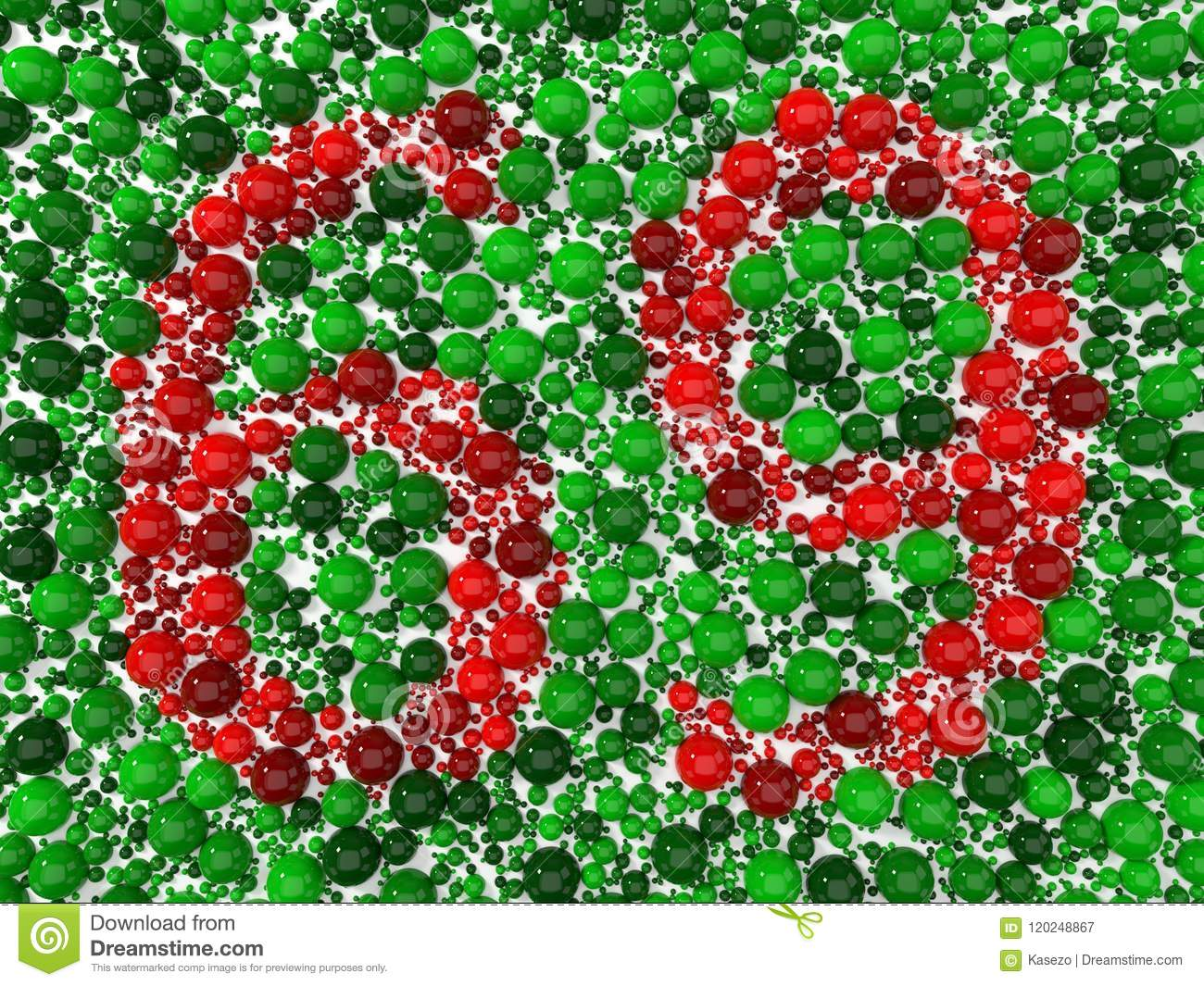 Color Blindness Test With Spheres. 3d Illustration Stock ...