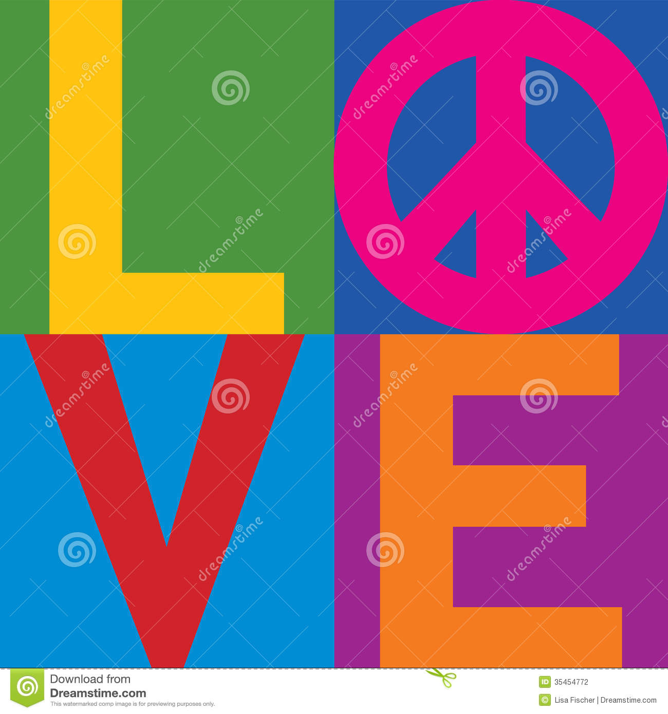 color block love peace stock vector image of sign word. Black Bedroom Furniture Sets. Home Design Ideas