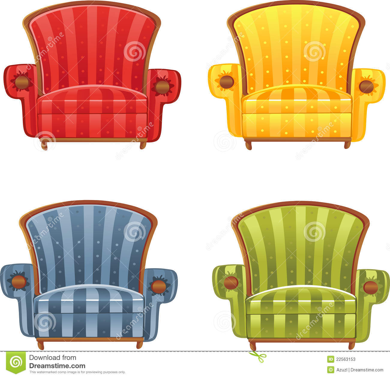 Color bright armchair stock illustration. Illustration of ...