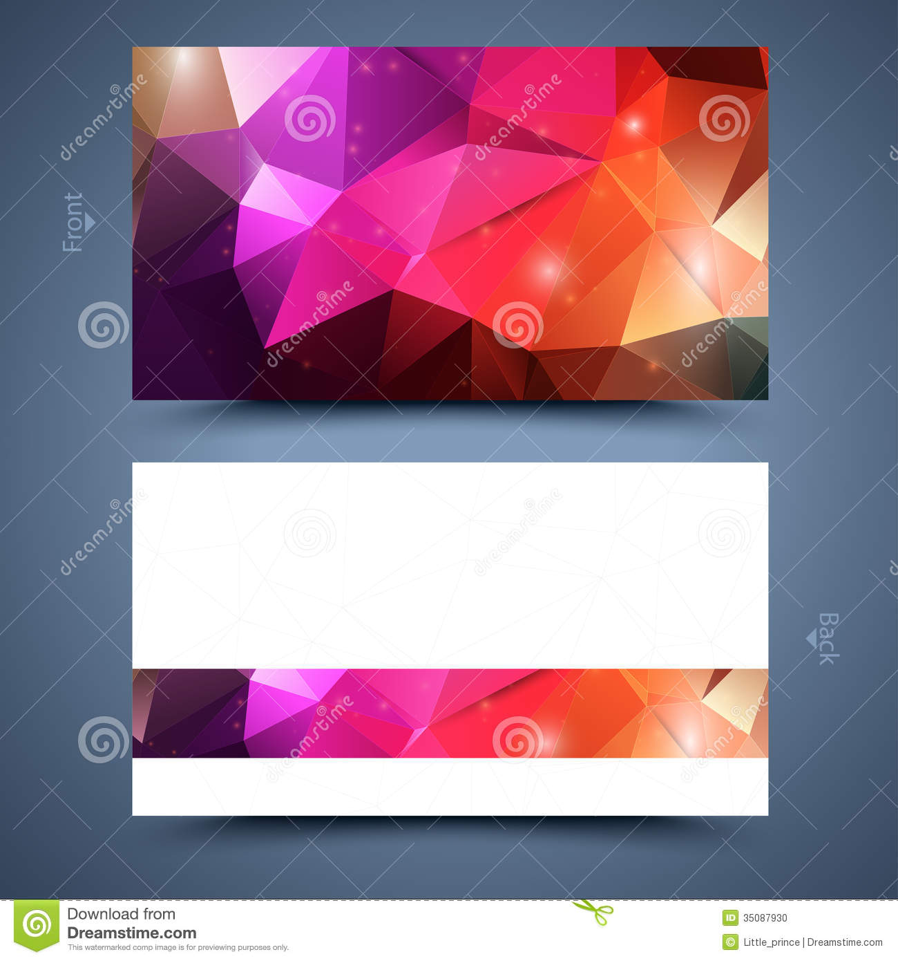 color business card template  abstract background stock