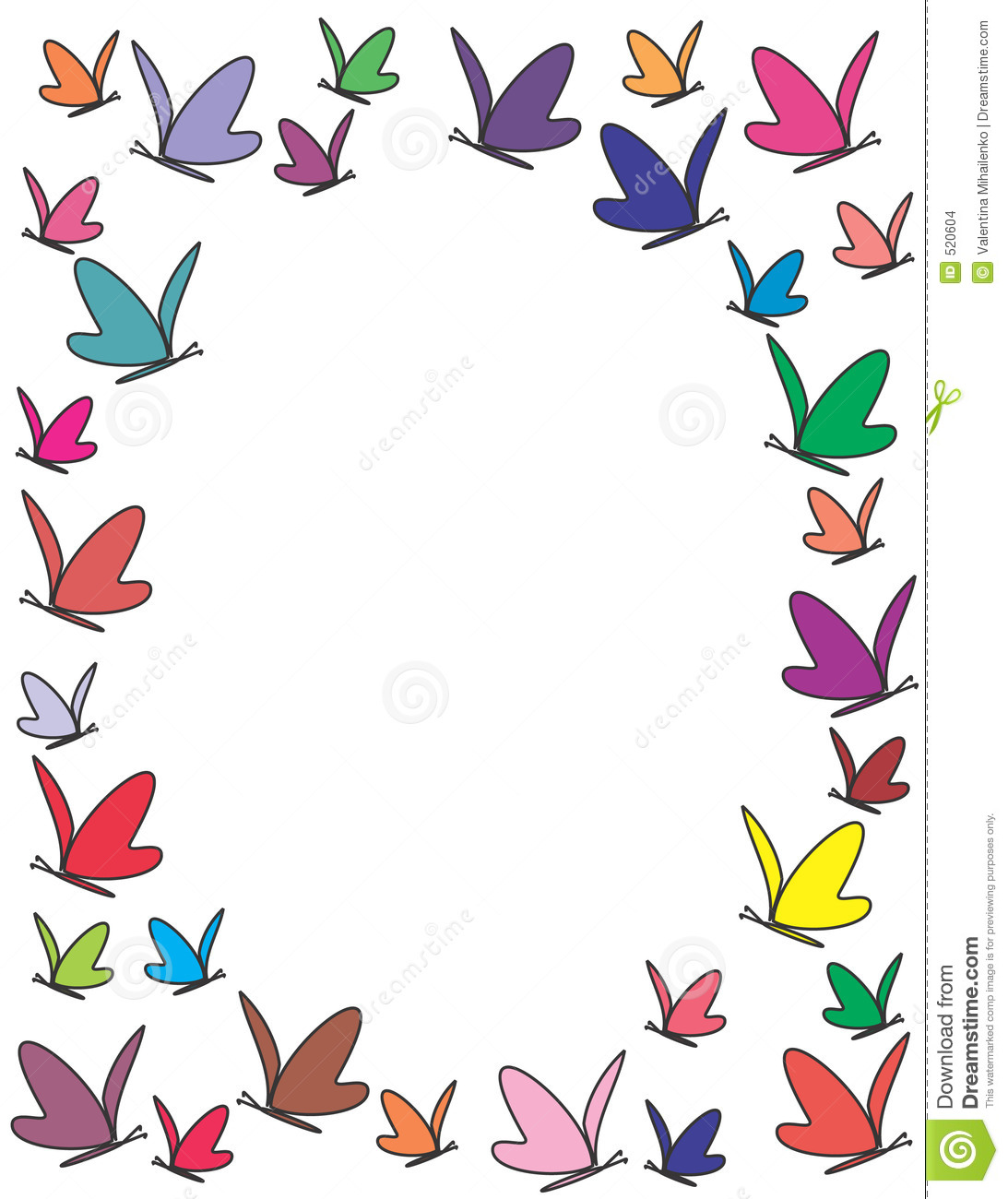 Color Butterflie...Clipart Flowers And Butterflies Border