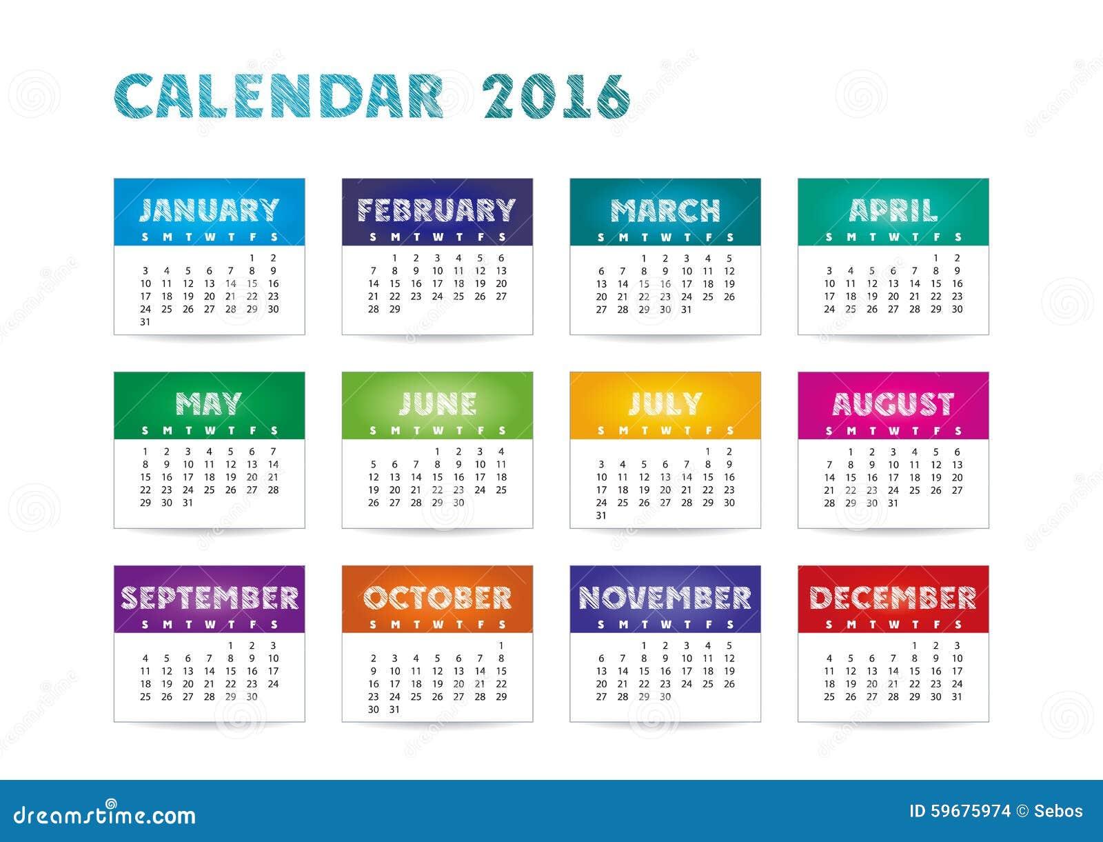 color calendar 2016 stock vector