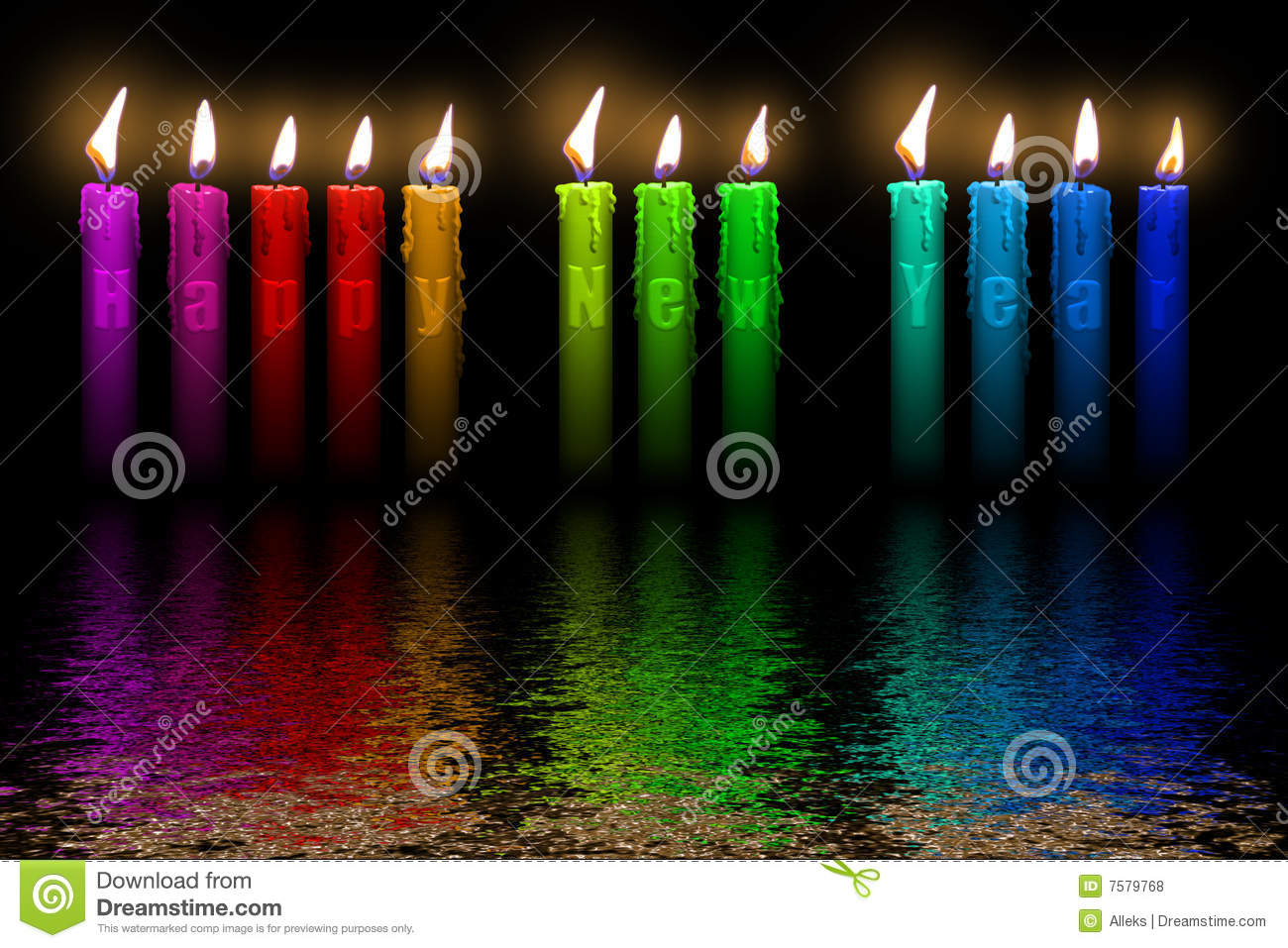 Color Candles Happy New Year Flooding In Water Stock