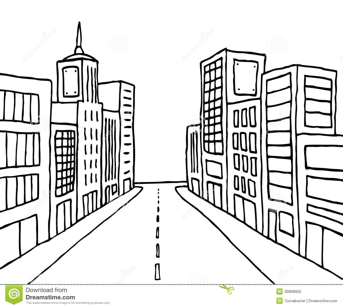 Color cartoon line city stock illustration. Illustration of point ...
