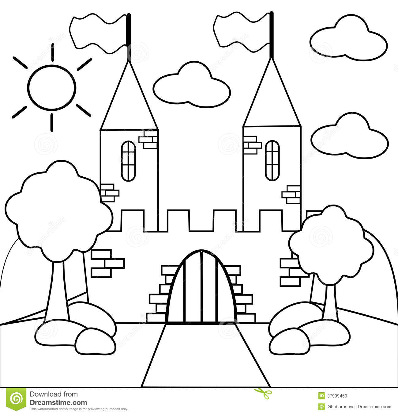 Coloring The Castle In Black And White