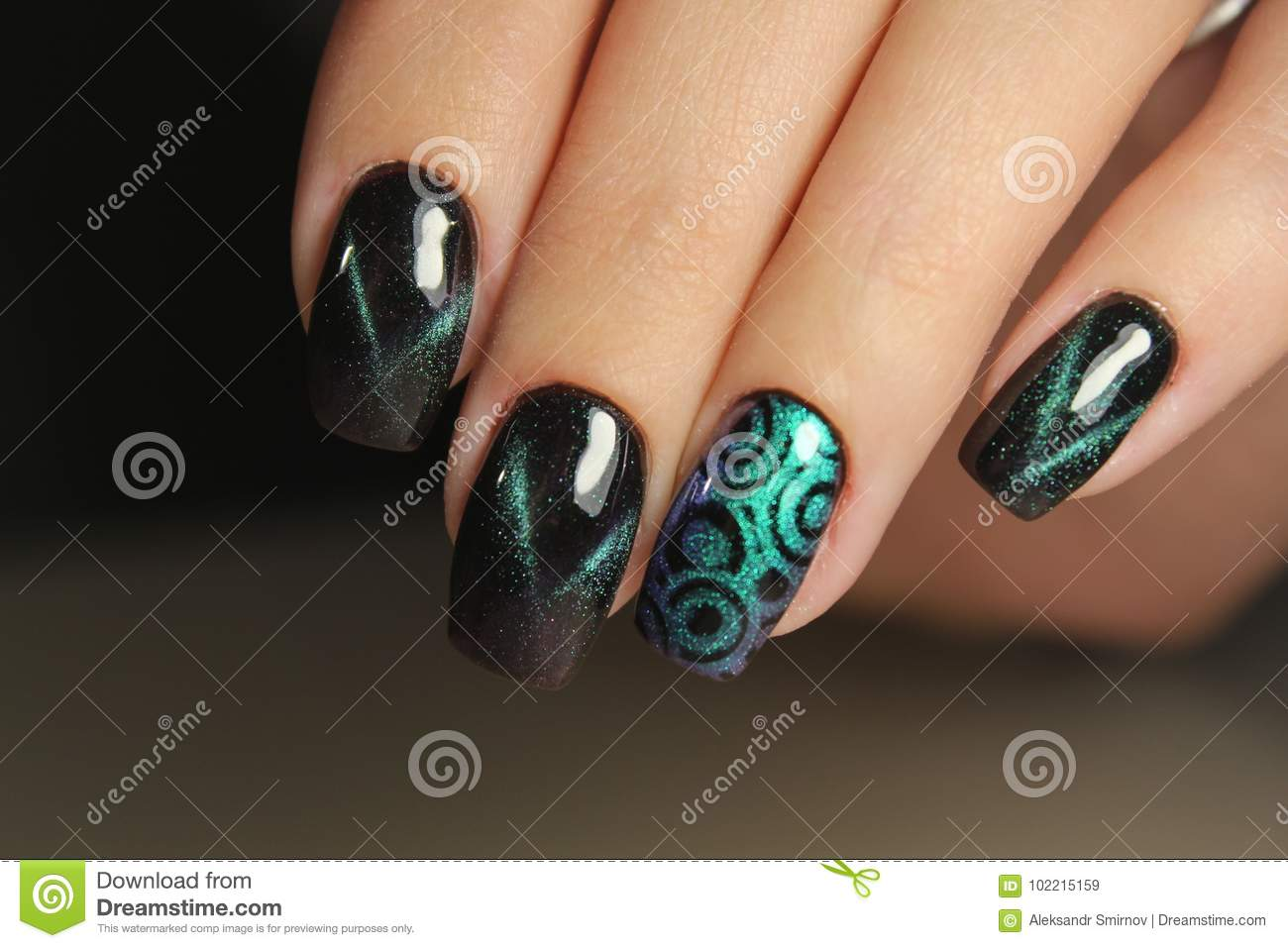 Color Cats Eye Manicure With A Nail Polish Stock Image Image Of