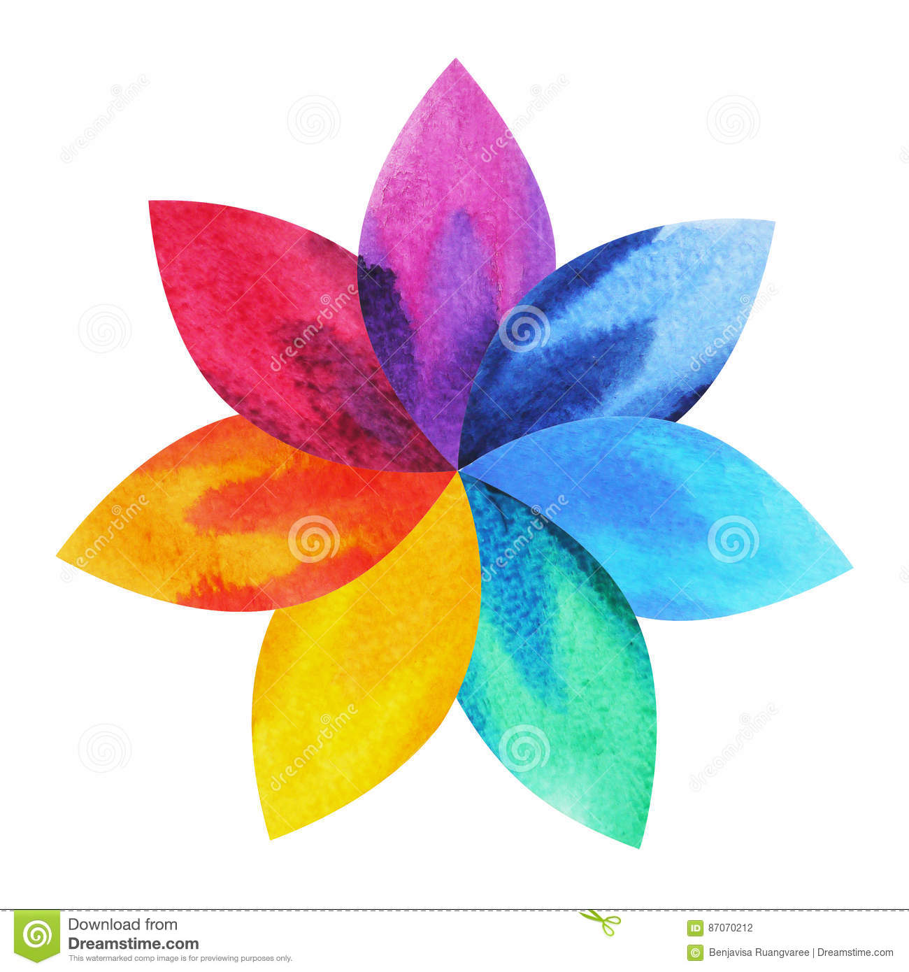 7 Color Of Chakra Sign Symbol Colorful Lotus Flower Icon