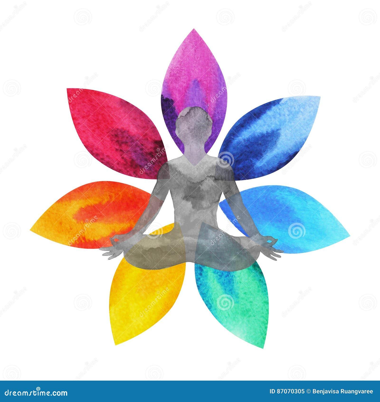 7 color of chakra symbol lotus flower with human body watercolor download 7 color of chakra symbol lotus flower with human body watercolor painting stock izmirmasajfo