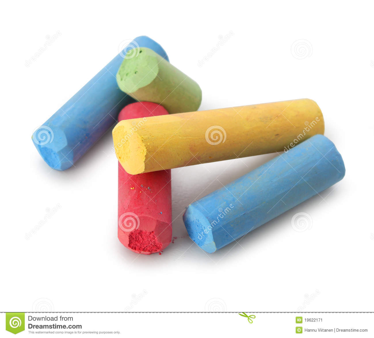 Pastel color chalks red blue yellow green isolated on white background ...