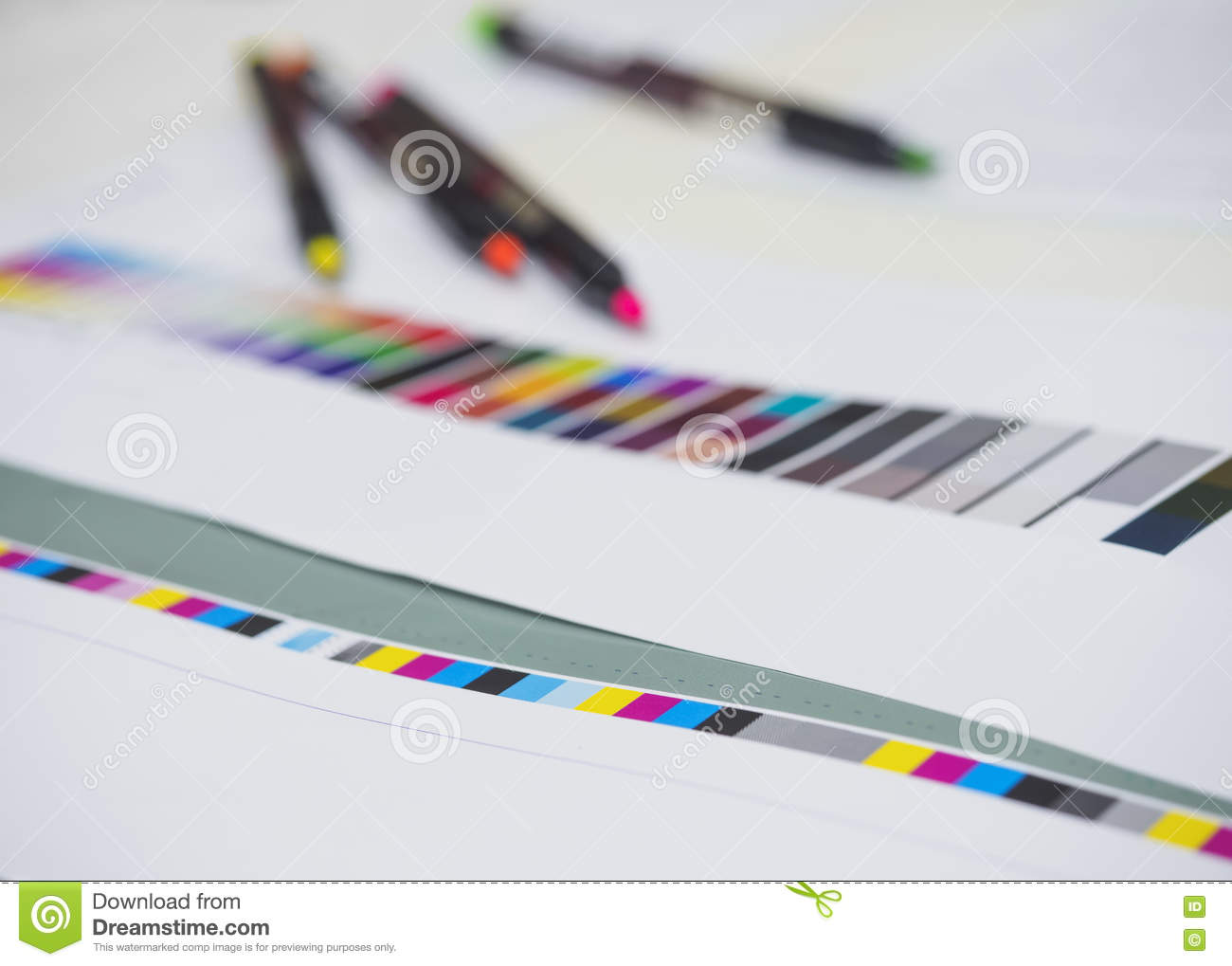 Color chart with neon pen on Digital Printing Offset Industry