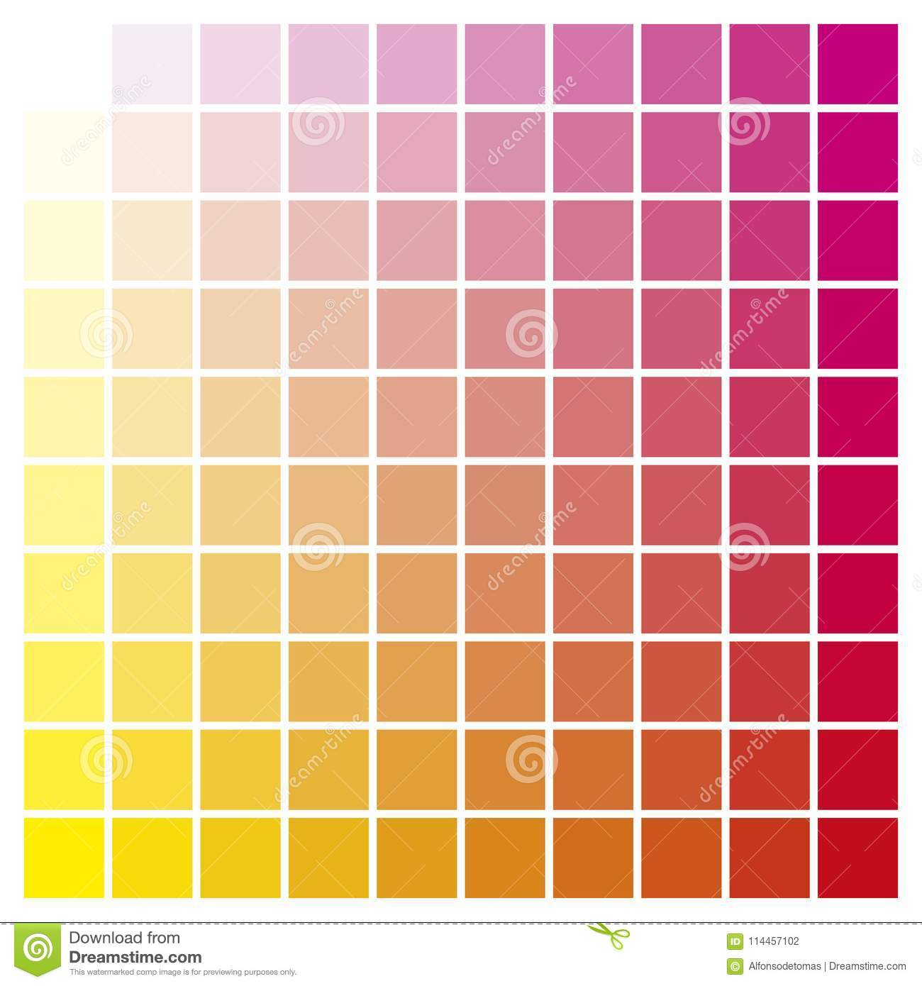 Color Chart Yellow Magenta Print Production Color Guide Ink Cata