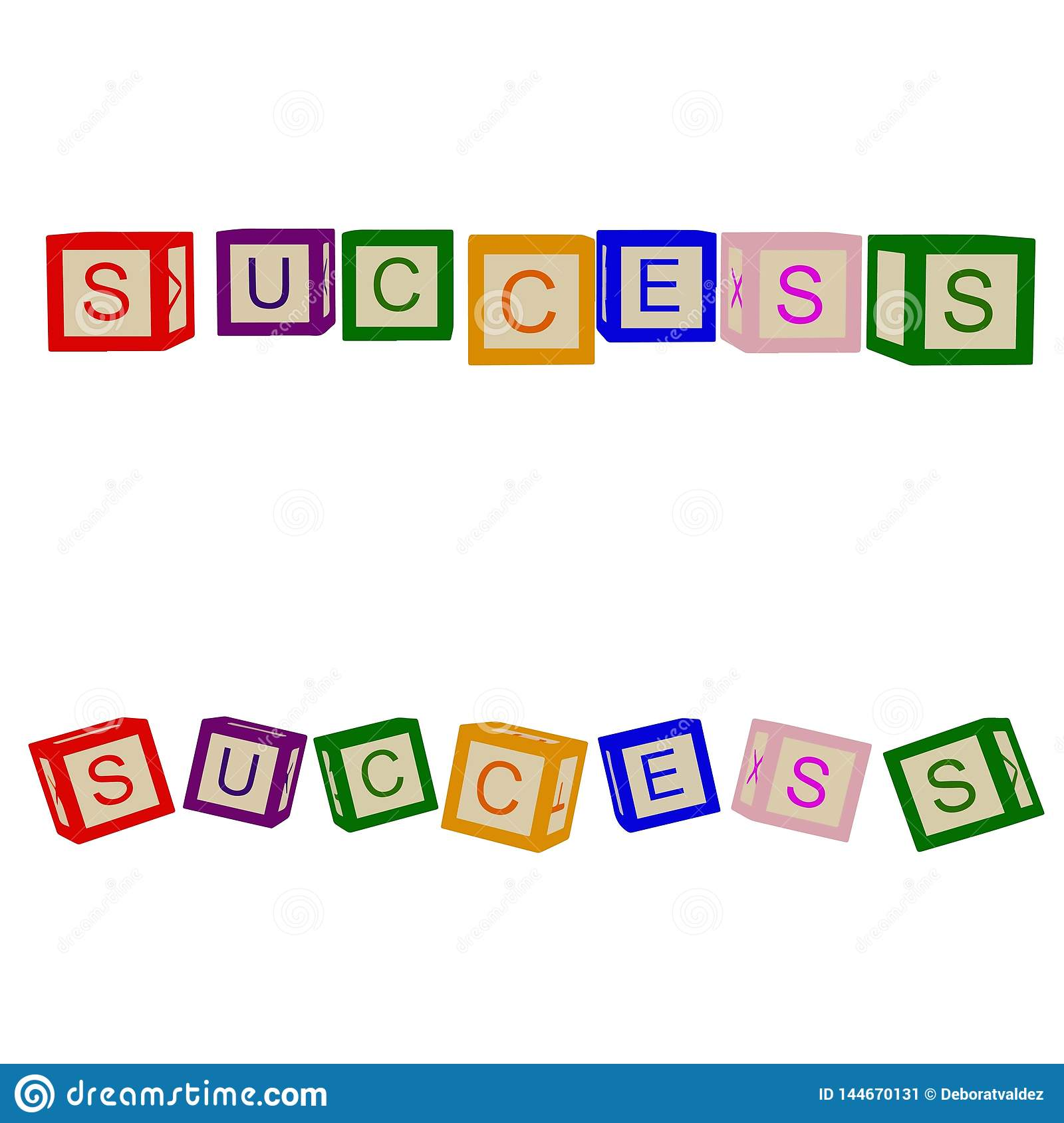Kids color cubes with letters. Success. For business and life. Vector.