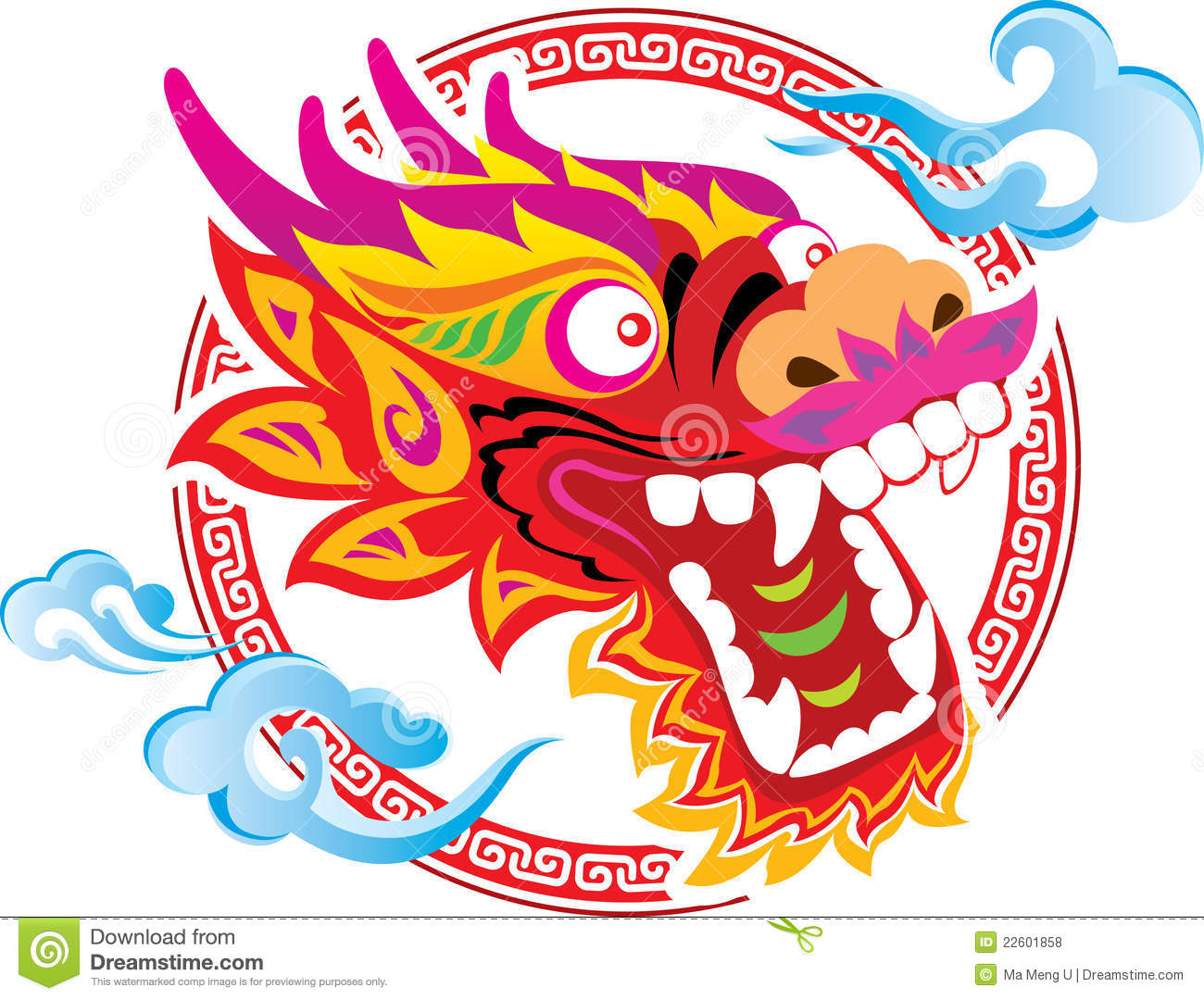 Color Chinese Dragon Head Art Design Stock Vector Illustration Of Year Style 22601858