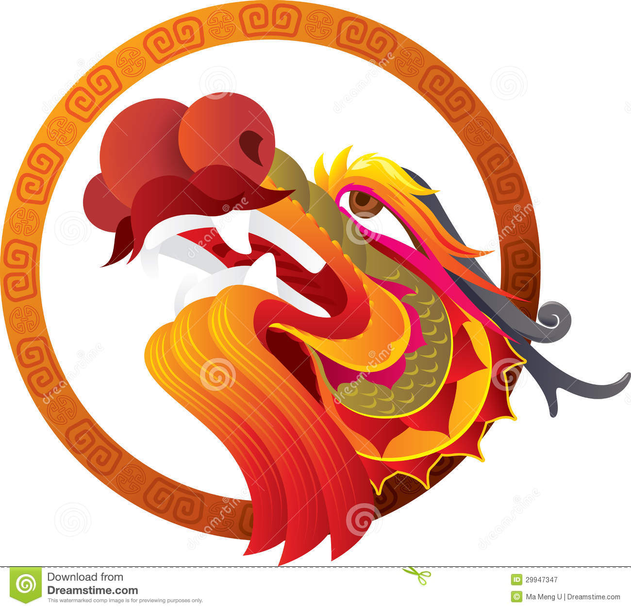 Chinese dragon head art stock vector illustration of for Chinese vector
