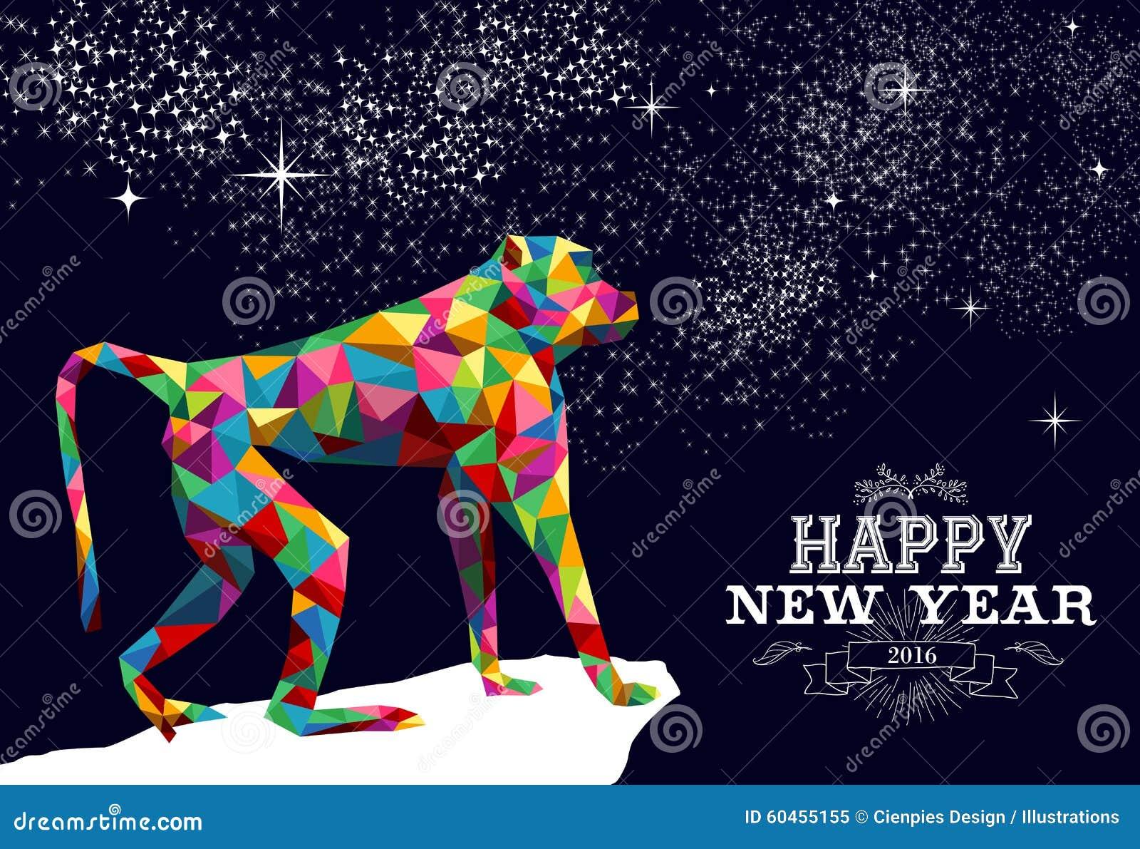 Color chino feliz 2016 del triángulo del mono del Año Nuevo