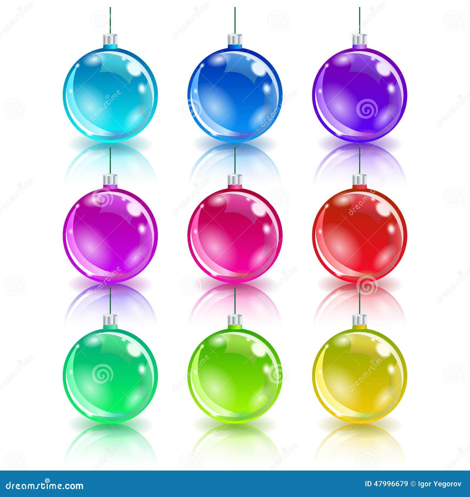 Color christmas balls set stock vector image