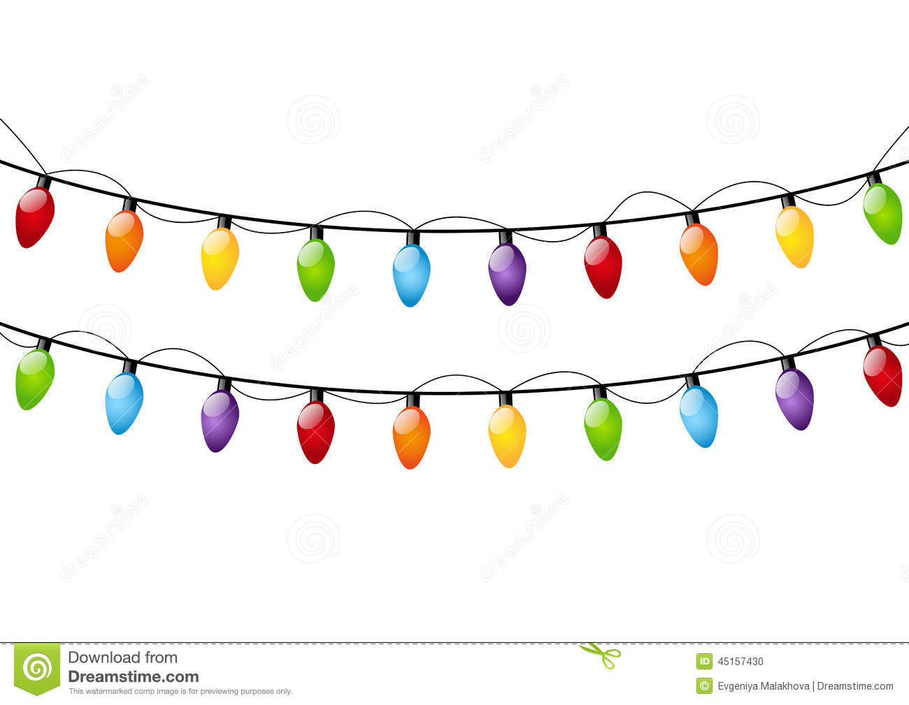 Christmas Lights Cartoon.Color Christmas Light Bulbs Stock Vector Illustration Of