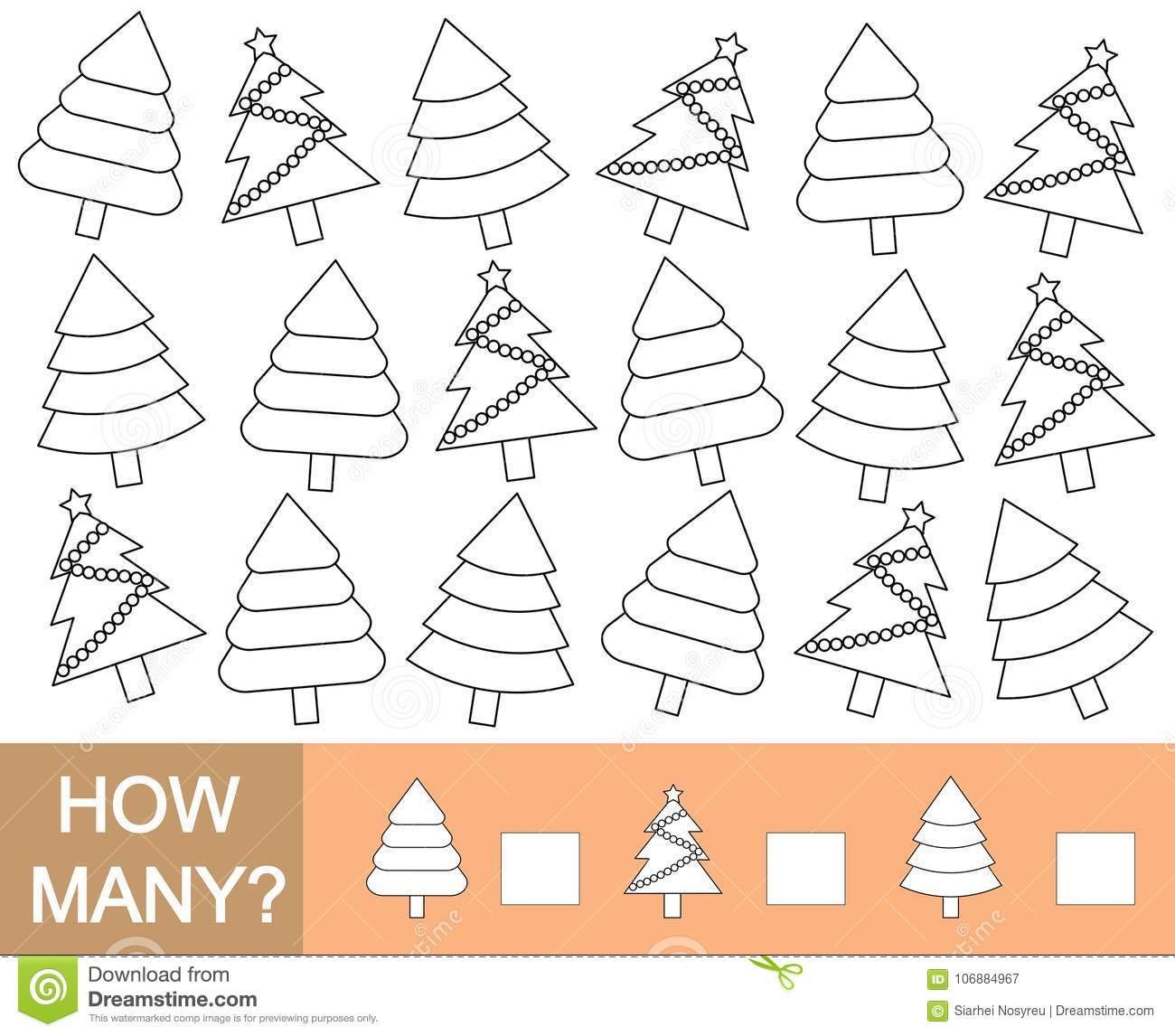Color Christmas Tree And Count How Many Mathematical Game For C