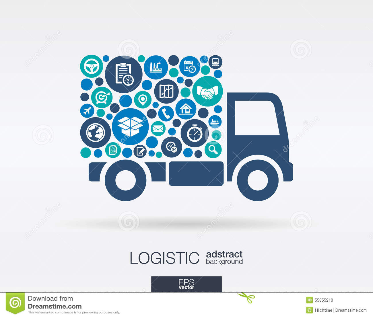 Color Circles, Flat Icons In A Truck Shape: Distribution