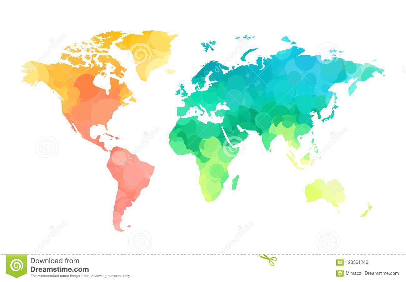 Color circles world map pattern