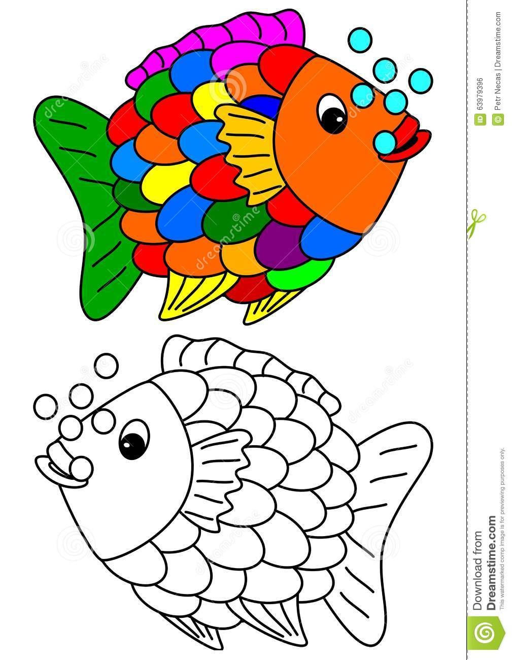 Color coloring book for young children colorful fish for Children s fish book