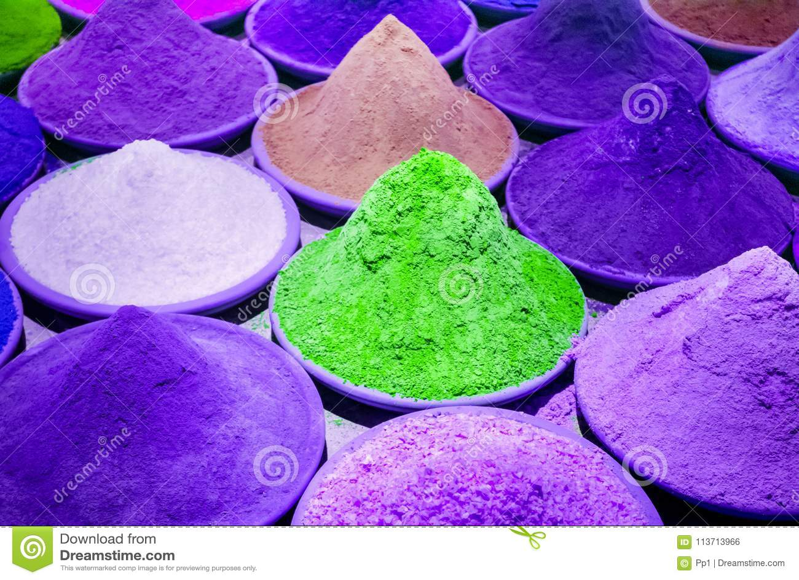 Color Coloring Dye Powder Piles In Indian Market Purple, Violet ...